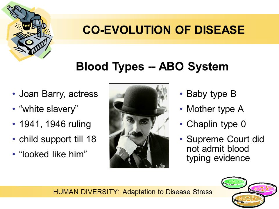 HUMAN DIVERSITY: Adaptation to Disease Stress Joan Barry, actress white slavery 1941, 1946 ruling child support till 18 looked like him Blood Types -- ABO System Baby type B Mother type A Chaplin type 0 Supreme Court did not admit blood typing evidence CO-EVOLUTION OF DISEASE