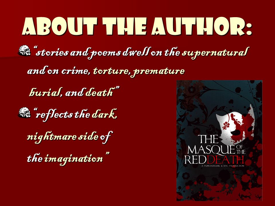 ABOUT THE AUTHOR: American author and poetAmerican author and poet Known for Horror, Suspense, Mystery, and Gothic Fiction.Known for Horror, Suspense, Mystery, and Gothic Fiction.