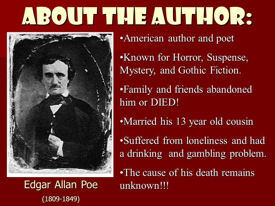 ABOUT THE AUTHOR: American author and poetAmerican author and poet Known for Horror, Suspense, Mystery, and Gothic Fiction.Known for Horror, Suspense,