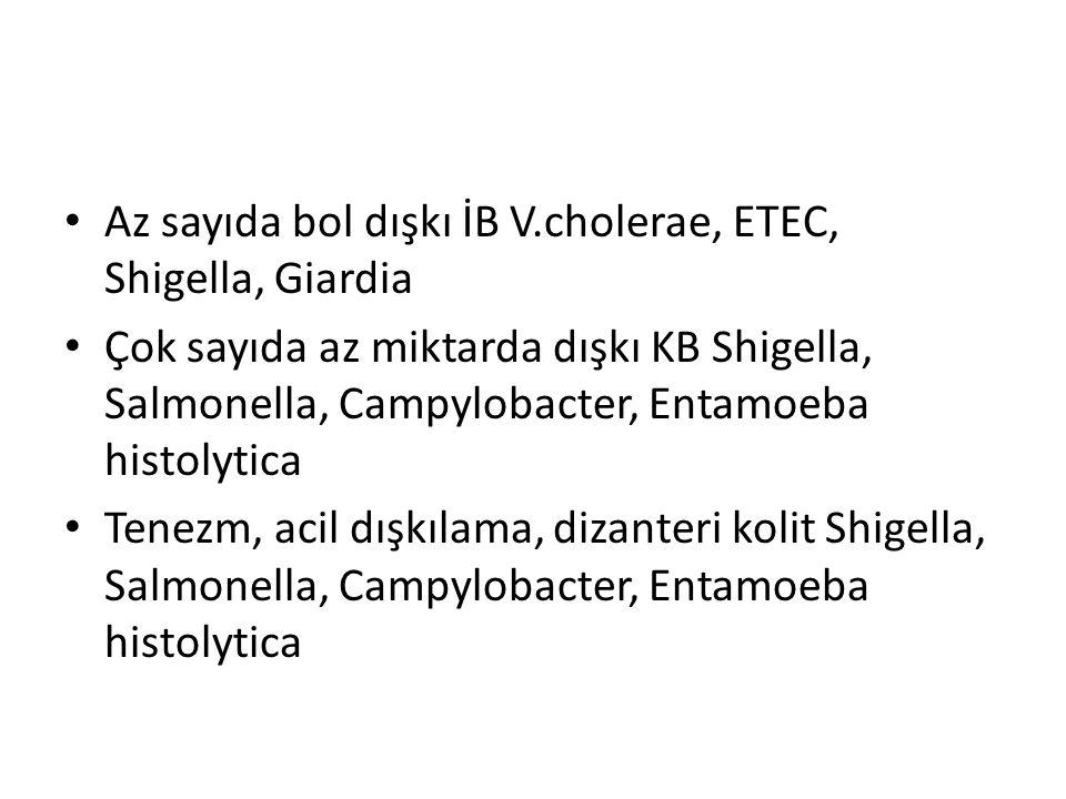 Az sayıda bol dışkı İB V.cholerae, ETEC, Shigella, Giardia Çok sayıda az miktarda dışkı KB Shigella, Salmonella, Campylobacter, Entamoeba histolytica