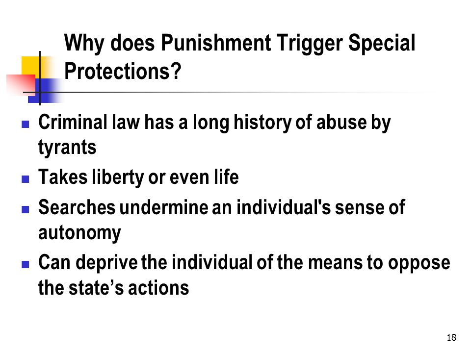 18 Why does Punishment Trigger Special Protections? Criminal law has a long history of abuse by tyrants Takes liberty or even life Searches undermine