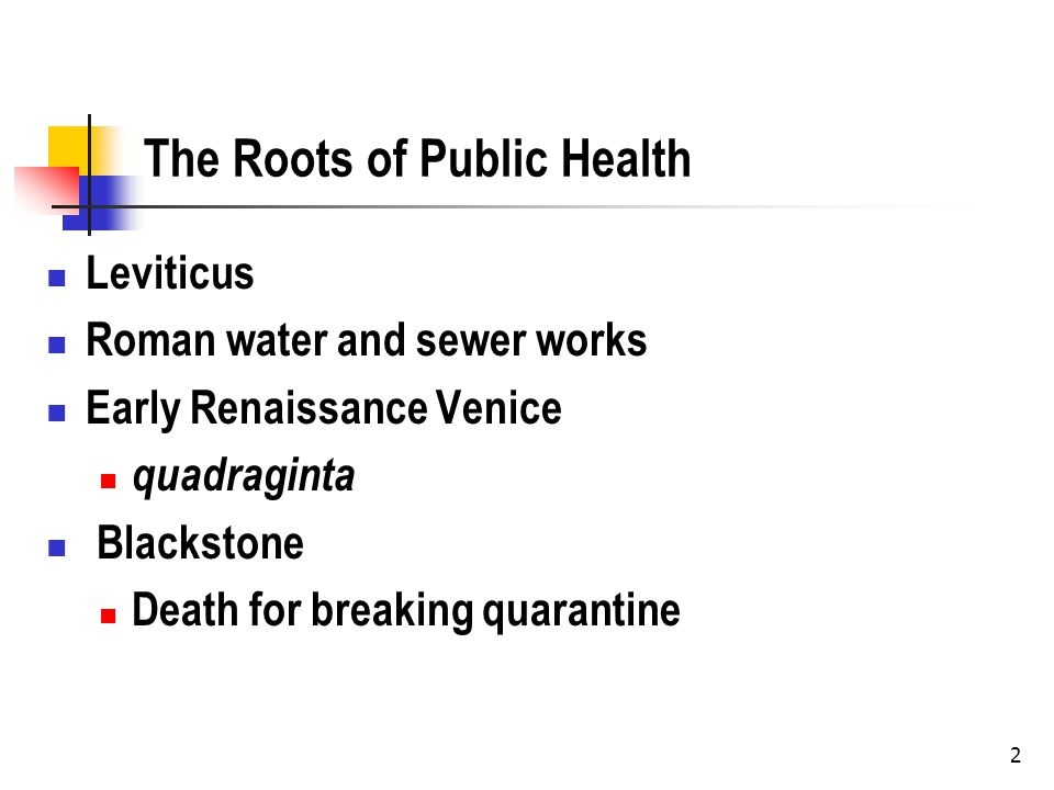 2 The Roots of Public Health Leviticus Roman water and sewer works Early Renaissance Venice quadraginta Blackstone Death for breaking quarantine