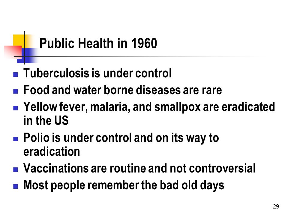 29 Public Health in 1960 Tuberculosis is under control Food and water borne diseases are rare Yellow fever, malaria, and smallpox are eradicated in th
