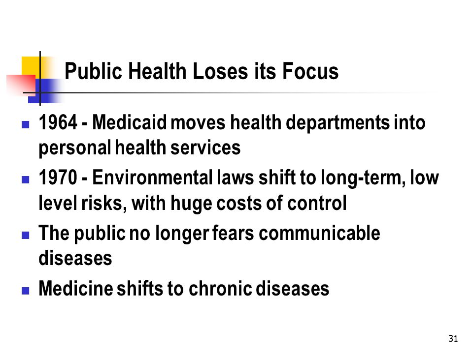 31 Public Health Loses its Focus 1964 - Medicaid moves health departments into personal health services 1970 - Environmental laws shift to long-term,