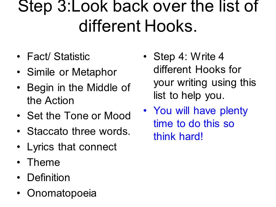 Step 3:Look back over the list of different Hooks.