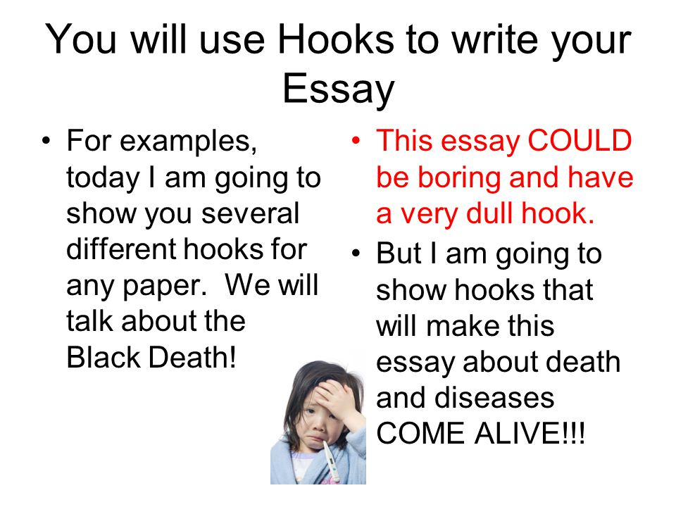 hooks and leads start your essay off a bang ppt  you will use hooks to write your essay for examples today i am going to