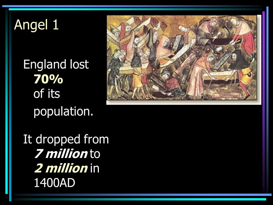 England lost 70% of its population. It dropped from 7 million to 2 million in 1400AD Angel 1