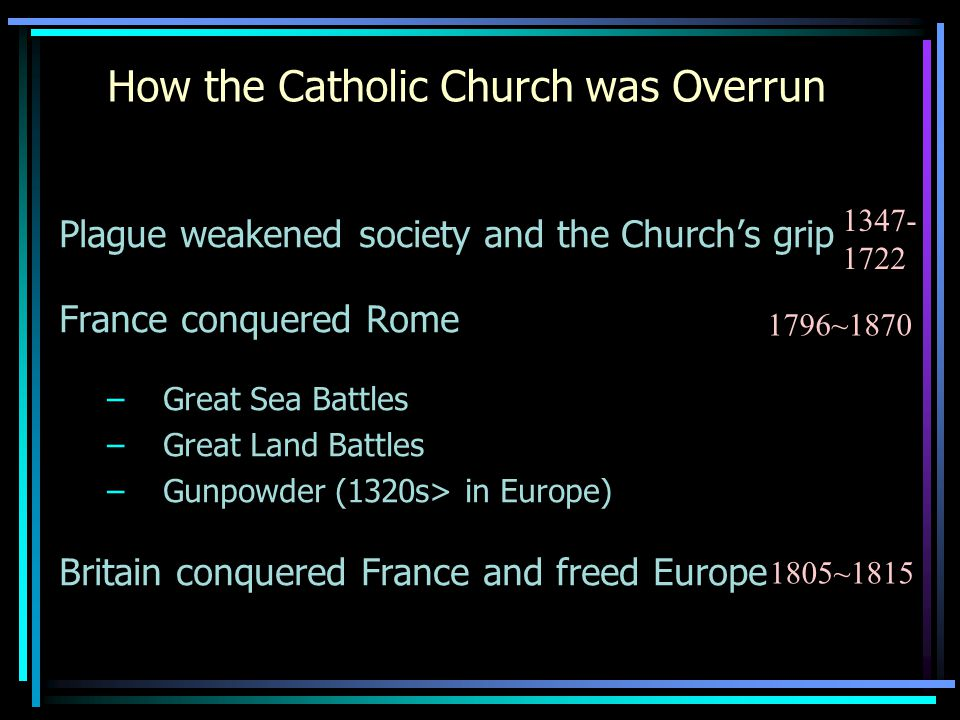 How the Catholic Church was Overrun Plague weakened society and the Church's grip France conquered Rome –Great Sea Battles –Great Land Battles –Gunpowder (1320s> in Europe) Britain conquered France and freed Europe 1347- 1722 1796~1870 1805~1815