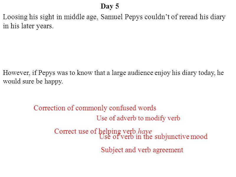 Day 5 Correction of commonly confused words Correct use of helping verb have Use of verb in the subjunctive mood Subject and verb agreement Use of adv