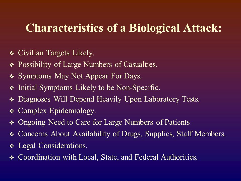 Potential Biological Weapon Agents