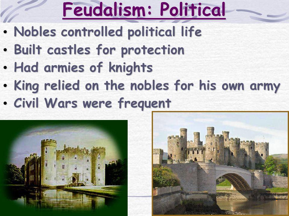 Feudalism: Political Nobles controlled political life Nobles controlled political life Built castles for protection Built castles for protection Had a