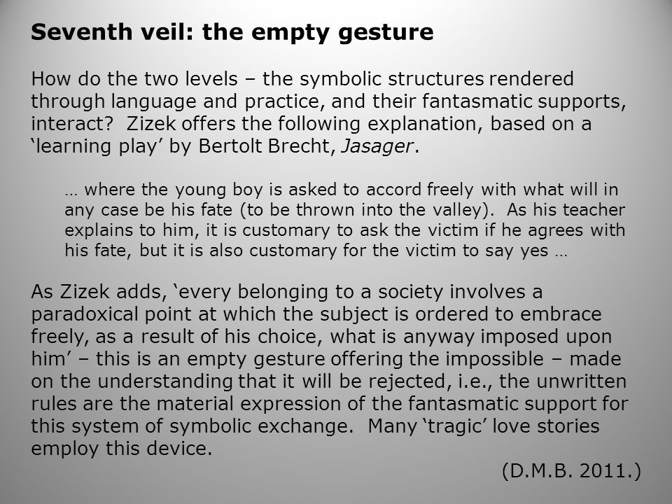 Seventh veil: the empty gesture How do the two levels – the symbolic structures rendered through language and practice, and their fantasmatic supports, interact.