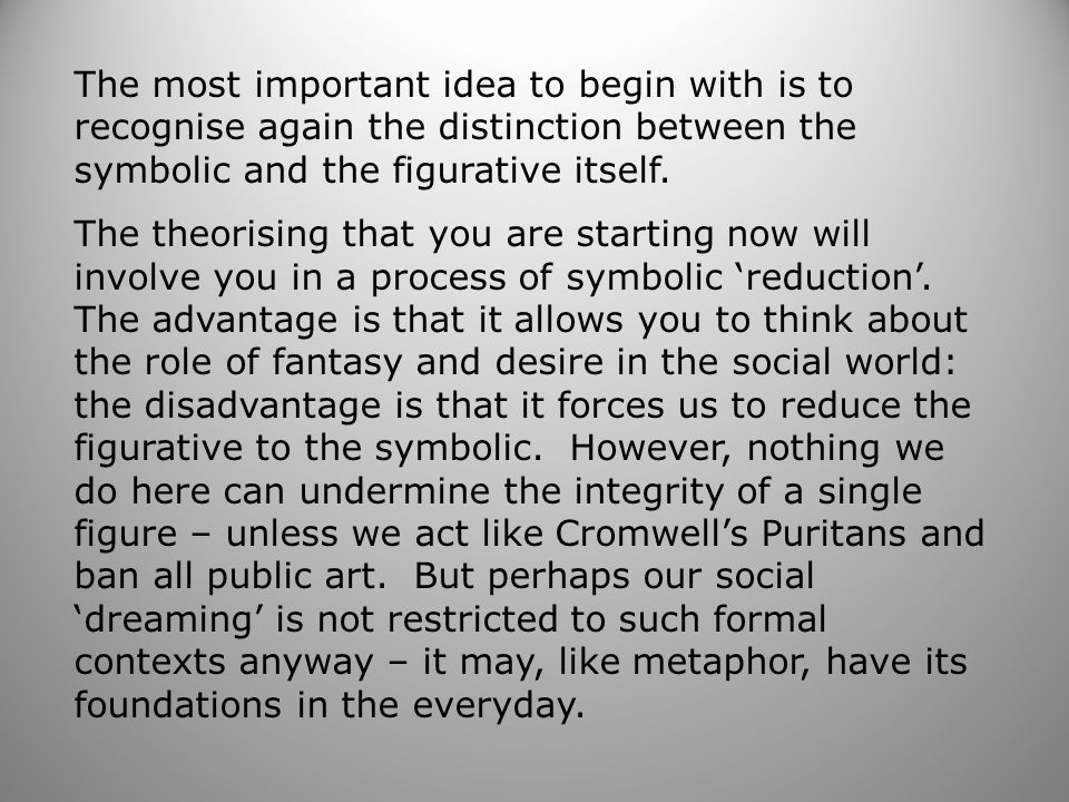 The most important idea to begin with is to recognise again the distinction between the symbolic and the figurative itself.