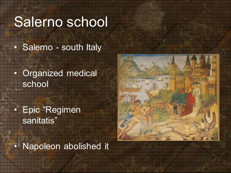 Salerno school Salerno - south Italy Organized medical school Epic Regimen sanitatis Napoleon abolished it