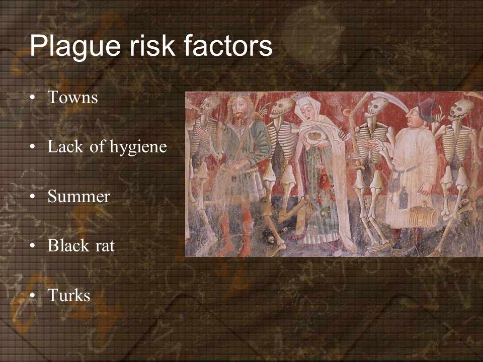 Plague risk factors Towns Lack of hygiene Summer Black rat Turks