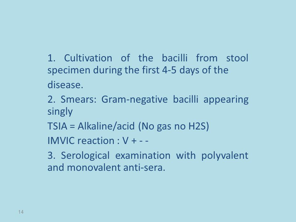 1. Cultivation of the bacilli from stool specimen during the first 4-5 days of the disease. 2. Smears: Gram-negative bacilli appearing singly TSIA = A