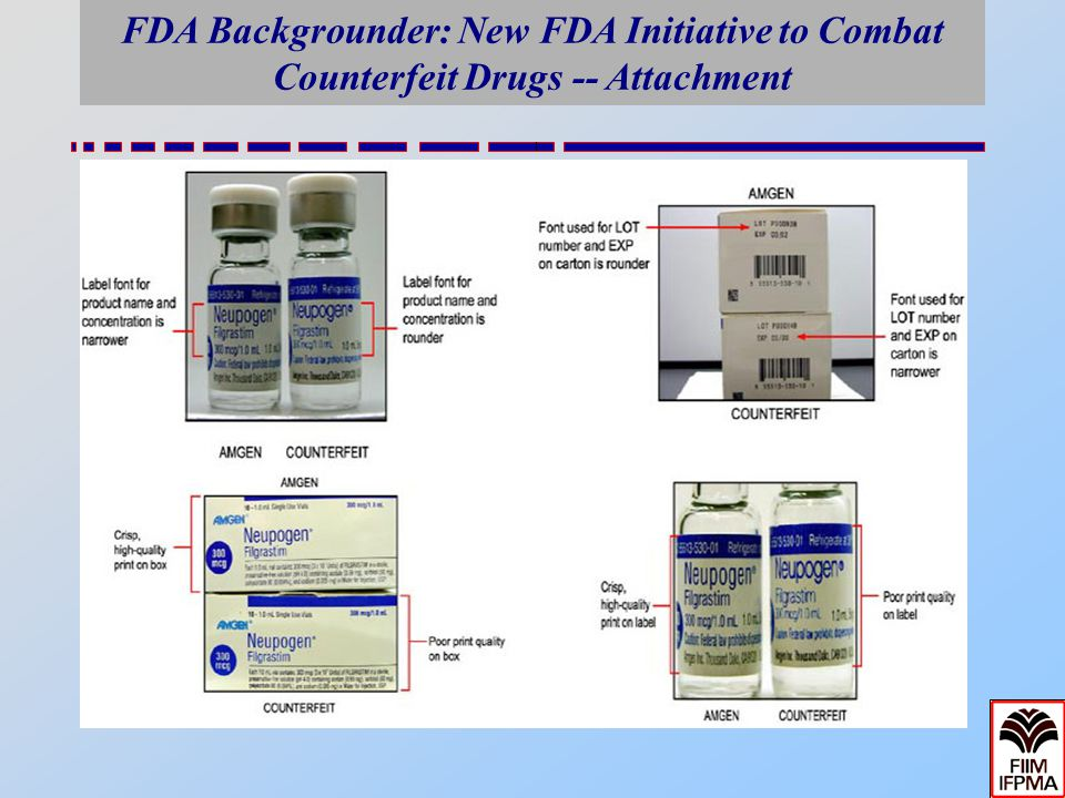 FDA Backgrounder: New FDA Initiative to Combat Counterfeit Drugs -- Attachment Counterfeit duplication of product labeling. Backgrounder Media Contact