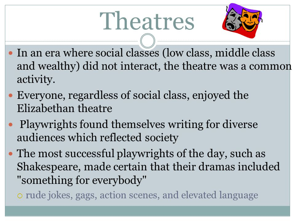 Theatres In an era where social classes (low class, middle class and wealthy) did not interact, the theatre was a common activity.
