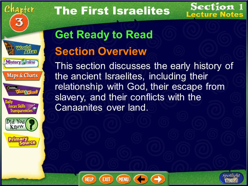 Get Ready to Read Section Overview This section discusses the early history of the ancient Israelites, including their relationship with God, their escape from slavery, and their conflicts with the Canaanites over land.