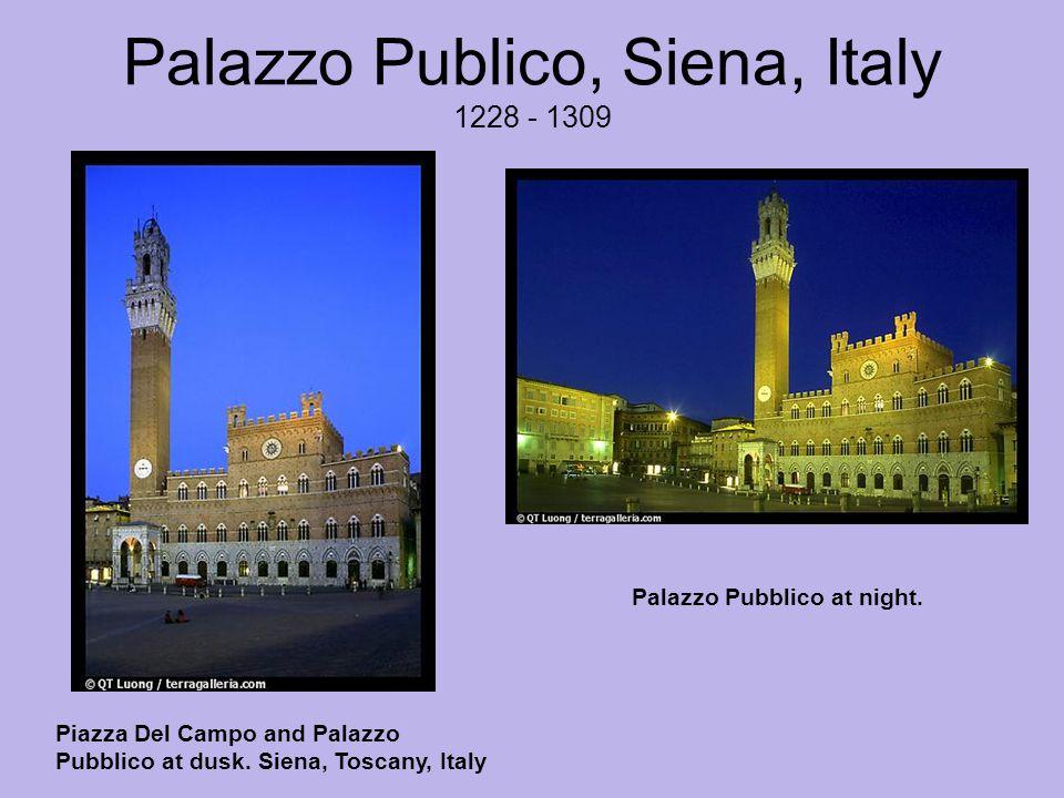Palazzo Publico, Siena, Italy 1228 - 1309 Piazza Del Campo and Palazzo Pubblico at dusk.