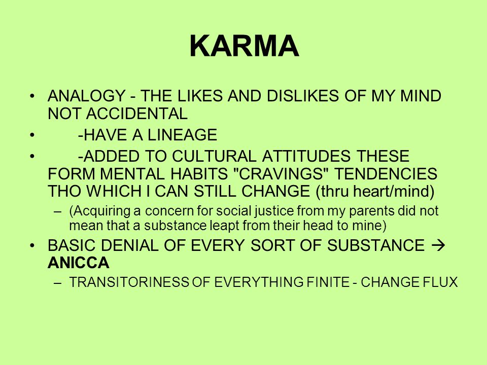 KARMA ANALOGY - THE LIKES AND DISLIKES OF MY MIND NOT ACCIDENTAL -HAVE A LINEAGE -ADDED TO CULTURAL ATTITUDES THESE FORM MENTAL HABITS CRAVINGS TENDENCIES THO WHICH I CAN STILL CHANGE (thru heart/mind) –(Acquiring a concern for social justice from my parents did not mean that a substance leapt from their head to mine) BASIC DENIAL OF EVERY SORT OF SUBSTANCE  ANICCA –TRANSITORINESS OF EVERYTHING FINITE - CHANGE FLUX