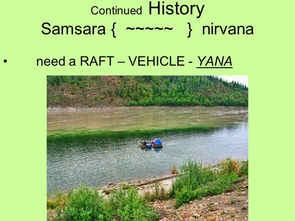 Continued History Samsara { ~~~~~ } nirvana need a RAFT – VEHICLE - YANA