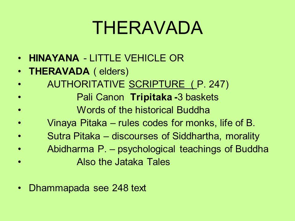 THERAVADA HINAYANA - LITTLE VEHICLE OR THERAVADA ( elders) AUTHORITATIVE SCRIPTURE ( P.