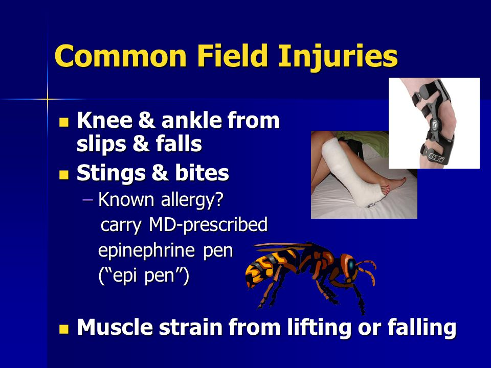 Common Field Injuries Driving accidents can result in serious injury or death Driving accidents can result in serious injury or death –Highway –Off-road vehicles ATVs, snow mobiles ATVs, snow mobiles Proper training Proper trainingrequired ALWAYS wear ALWAYS wear a HELMET