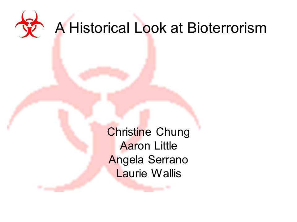 Introduction Bioterrorism is a growing concern in social, political, and scientific communities globally Historically, Category A Select Agents, as identified by the CDC, have been used or acquired with intent to disseminate Category A Select Agents are those with high morbidity or mortality combined with high transmission rates including Anthrax, Botulism, Plague, Smallpox.