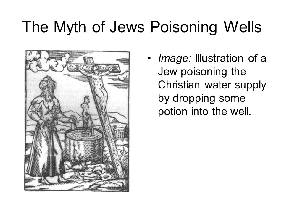 The Myth of Jews Poisoning Wells Image: Illustration of a Jew poisoning the Christian water supply by dropping some potion into the well.
