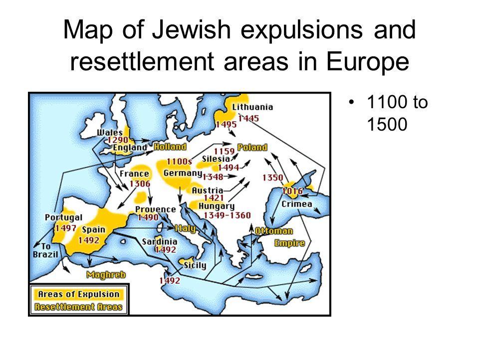 Map of Jewish expulsions and resettlement areas in Europe 1100 to 1500