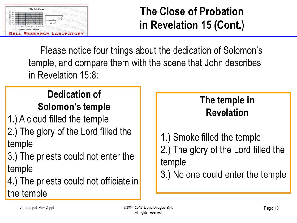1st_Trumpet_Rev-D.ppt©2004-2012; David Douglas Bell, All rights reserved Page 10 Please notice four things about the dedication of Solomon's temple, a