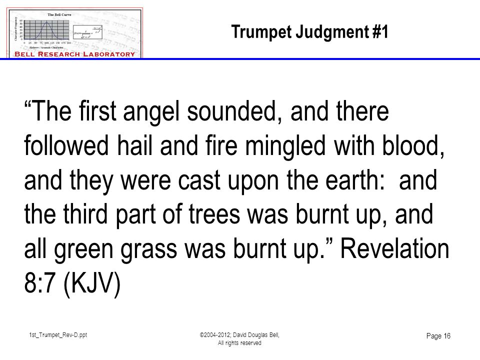 "1st_Trumpet_Rev-D.ppt©2004-2012; David Douglas Bell, All rights reserved Page 16 Trumpet Judgment #1 ""The first angel sounded, and there followed hail"