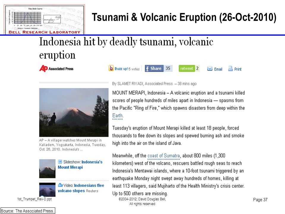 1st_Trumpet_Rev-D.ppt©2004-2012; David Douglas Bell, All rights reserved Page 37 Tsunami & Volcanic Eruption (26-Oct-2010) Source: The Associated Pres