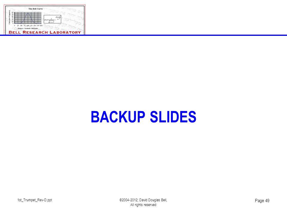 1st_Trumpet_Rev-D.ppt©2004-2012; David Douglas Bell, All rights reserved Page 49 BACKUP SLIDES
