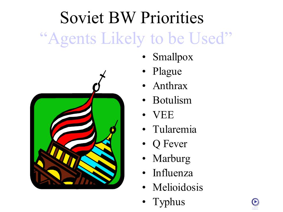 Soviet BW Priorities Agents Likely to be Used Smallpox Plague Anthrax Botulism VEE Tularemia Q Fever Marburg Influenza Melioidosis Typhus NEXT