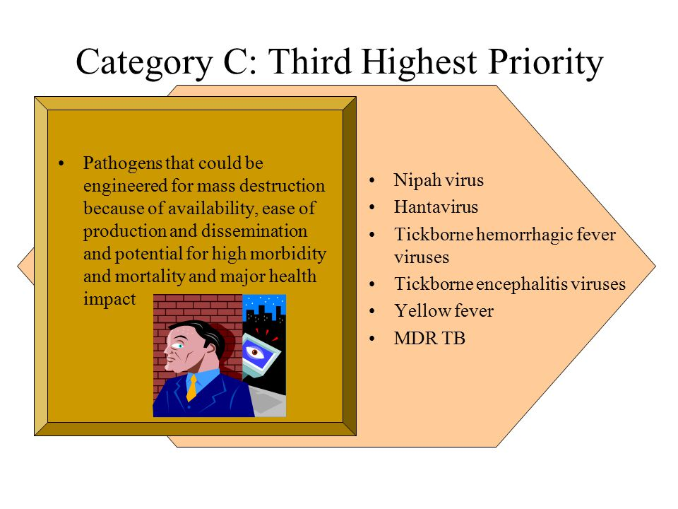 Category C: Third Highest Priority Pathogens that could be engineered for mass destruction because of availability, ease of production and dissemination and potential for high morbidity and mortality and major health impact Nipah virus Hantavirus Tickborne hemorrhagic fever viruses Tickborne encephalitis viruses Yellow fever MDR TB