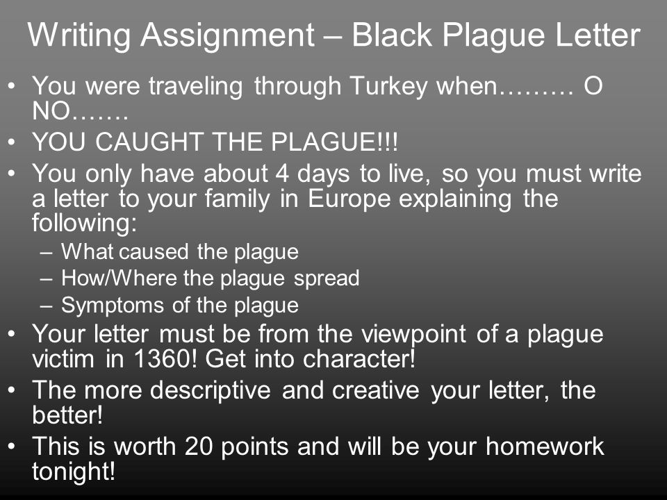 Writing Assignment – Black Plague Letter You were traveling through Turkey when……… O NO…….