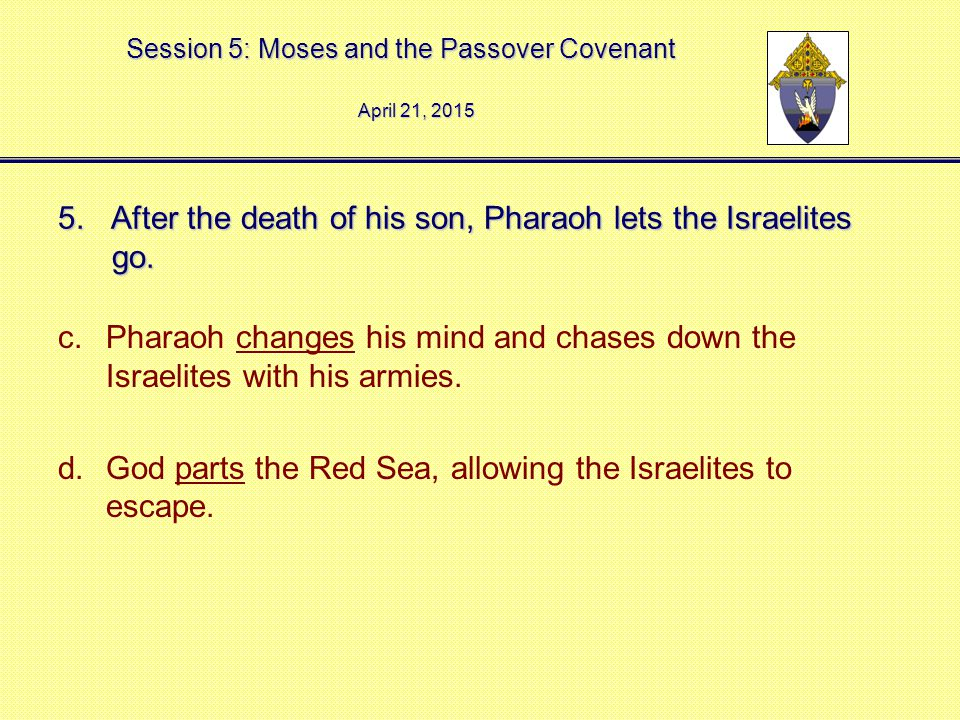 Session 5: Moses and the Passover Covenant 5. After the death of his son, Pharaoh lets the Israelites go. c.Pharaoh changes his mind and chases down t