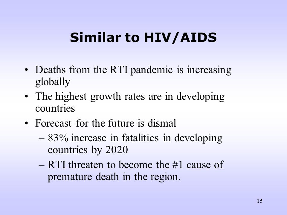 14 We should learn the lessons from AIDS The public health community failed to respond adequately to the problem while it was growing rapidly in developing nations.