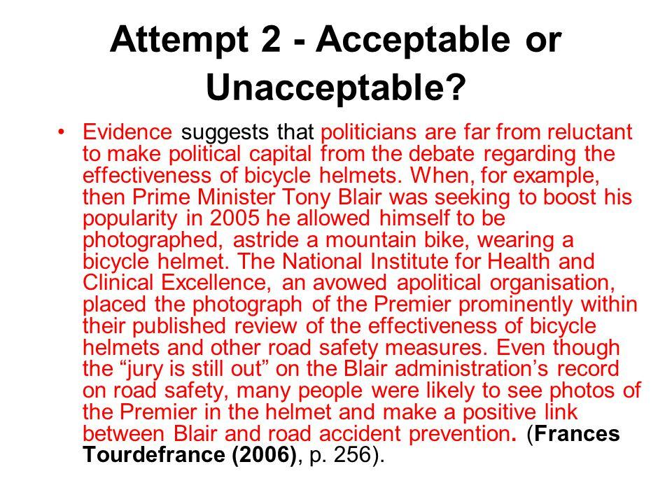 Attempt 2 - Acceptable or Unacceptable.