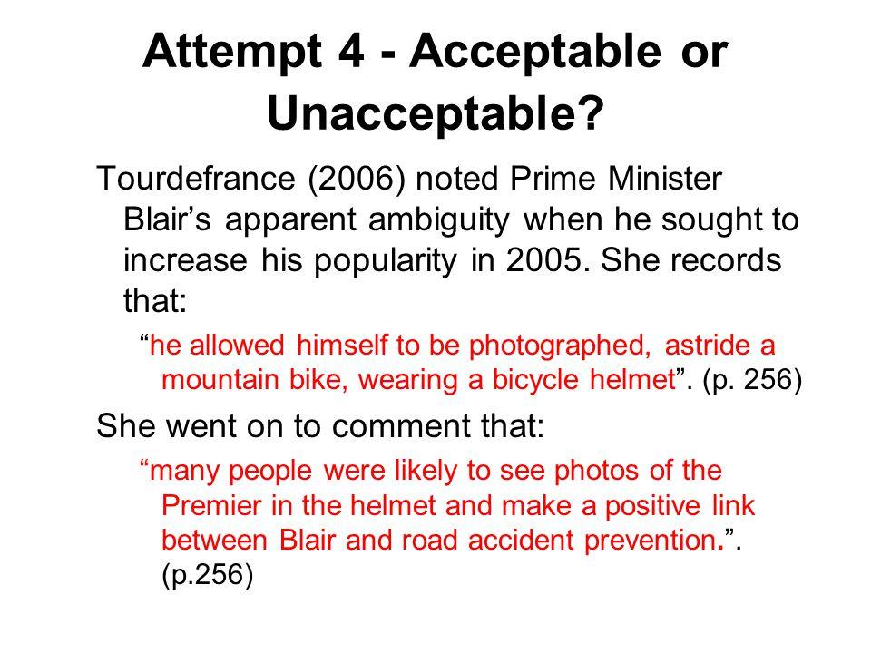 Attempt 4 - Acceptable or Unacceptable.