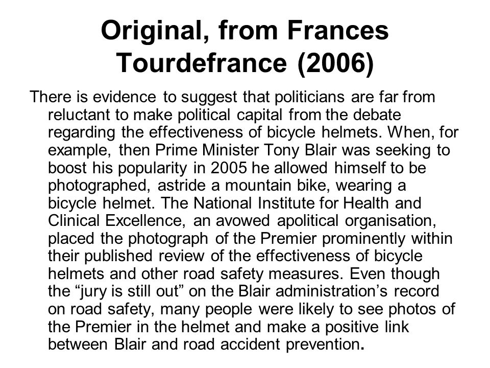 Original, from Frances Tourdefrance (2006) There is evidence to suggest that politicians are far from reluctant to make political capital from the deb