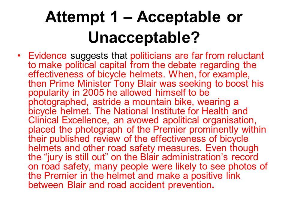 Attempt 1 – Acceptable or Unacceptable.