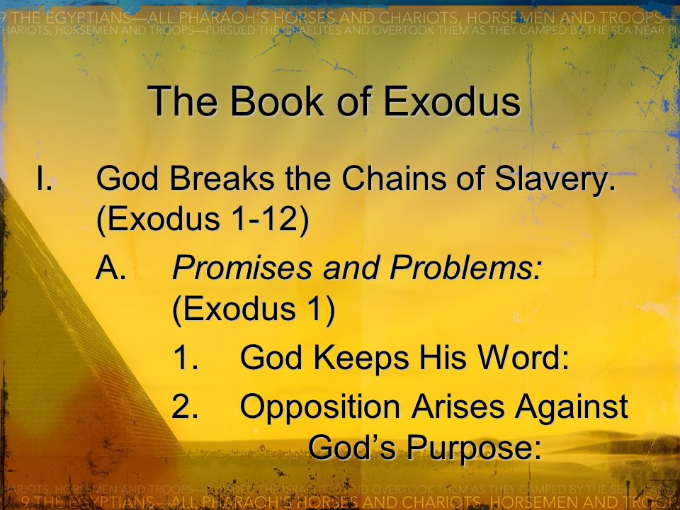 The Book of Exodus I.God Breaks the Chains of Slavery.
