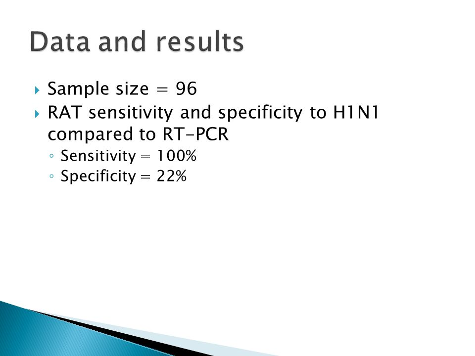  Sample size = 96  RAT sensitivity and specificity to H1N1 compared to RT-PCR ◦ Sensitivity = 100% ◦ Specificity = 22%