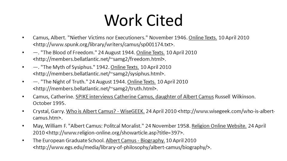 Work Cited Camus, Albert.