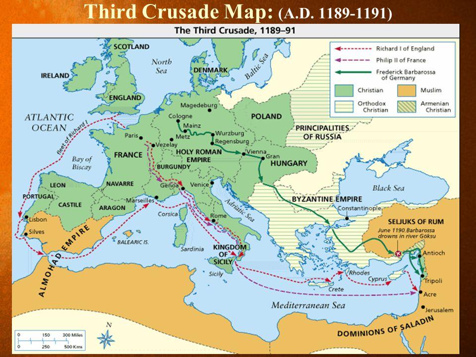 Third Crusade Map: (A.D. 1189-1191)