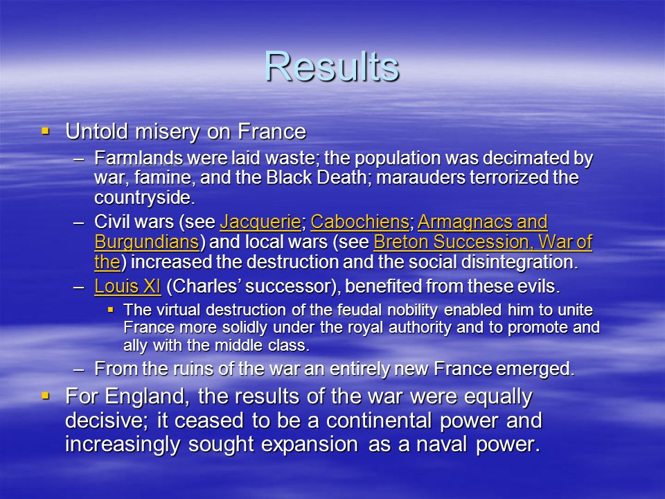 Results  Untold misery on France –Farmlands were laid waste; the population was decimated by war, famine, and the Black Death; marauders terrorized the countryside.