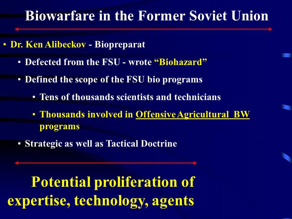 Biowarfare in the Former Soviet Union Dr.